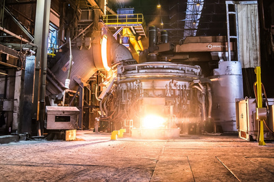 Electric arc furnace from Primetals Technologies at the Acciaieria Arvedi plant in Cremona, Italy.