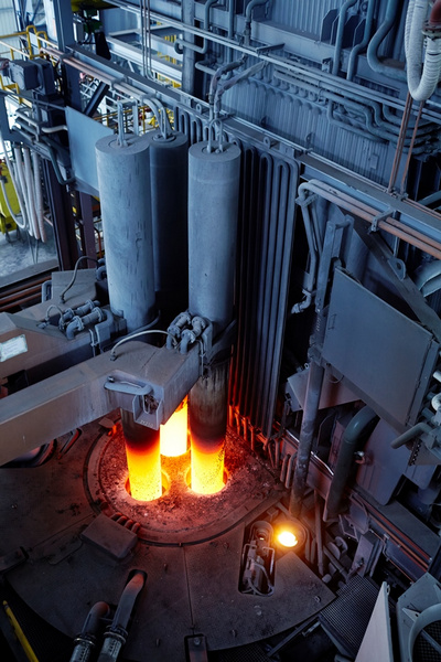 in comparison to conventional electric arc furnaces total co2 emissions can also be reduced by up to 30 percent per metric ton of crude steel